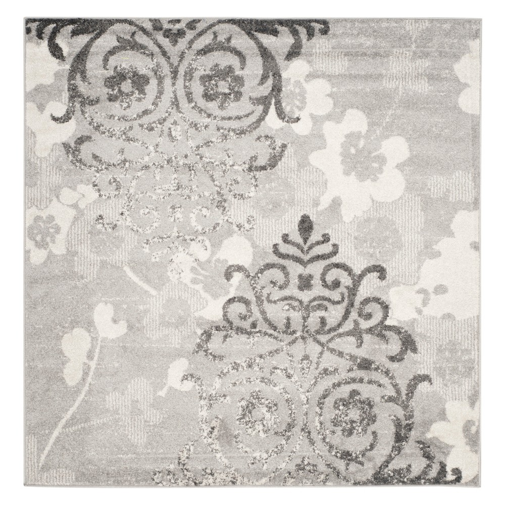Medallion Square Area Rug Silver/Ivory