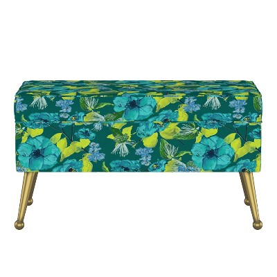 Jayda Storage Bench with Splayed Floral Green Teal - Opalhouse™