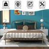 Costway Queen size Metal Bed Frame Steel Slat Platform Headboard Bedroom Antique Brown - image 4 of 4