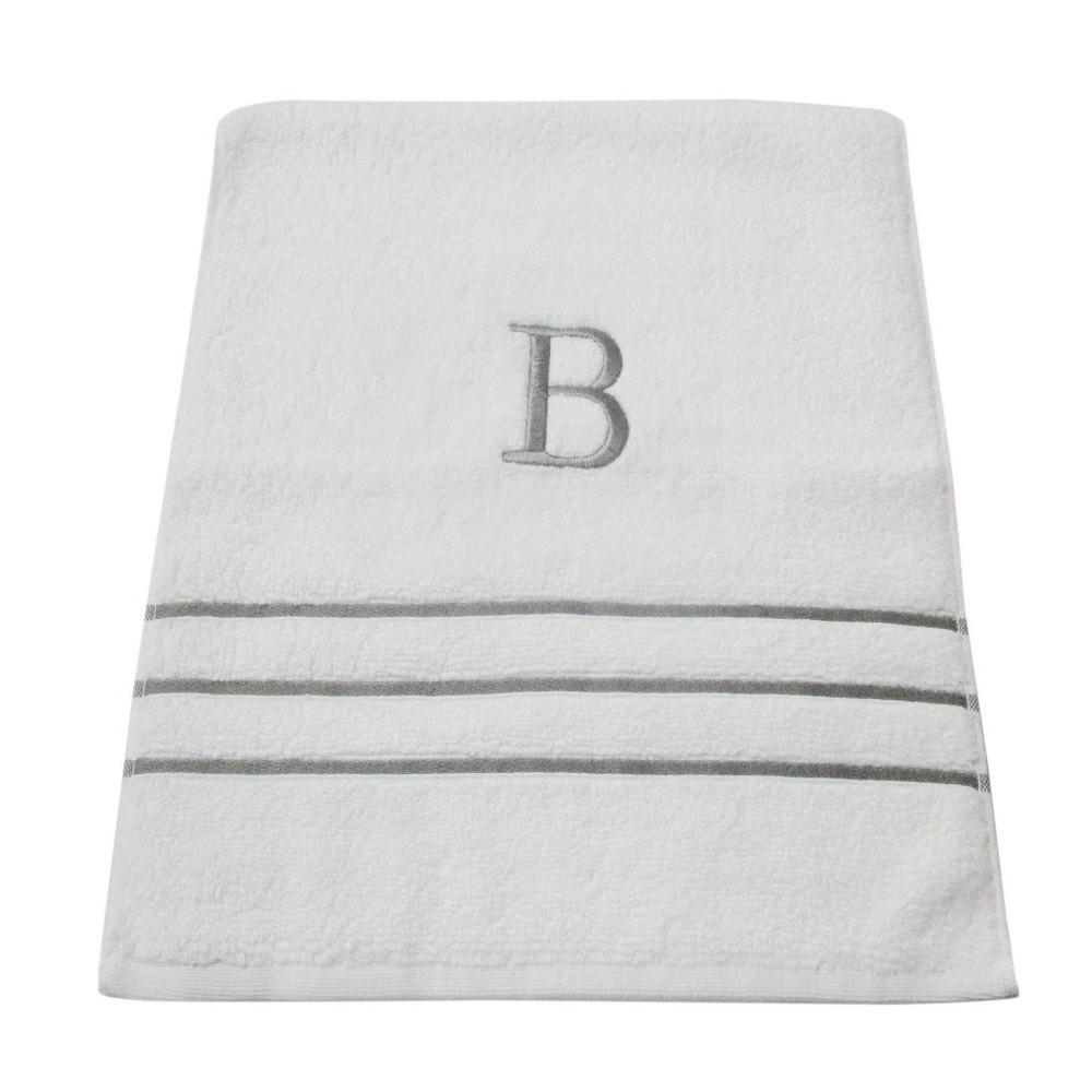 Monogram Hand Towel B - White/Skyline Gray - Fieldcrest