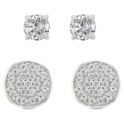 Stud Earrings Sterling and Stud Cubic Zirconia 2pk - A New Day™ Silver - image 1 of 1
