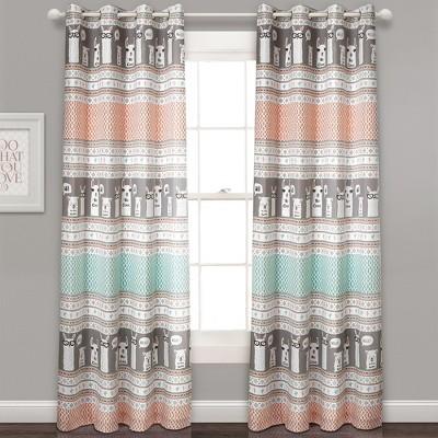 "2pc 52""x84"" Llama Stripe Room Darkening Curtain Panels Pink/Turquoise - Lush Décor"