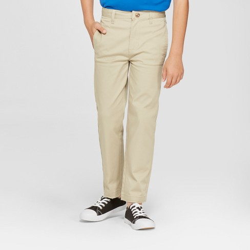 Boys' Flat Front Straight Fit Stretch Uniform Chino Pants - Cat & Jack™ - image 1 of 3
