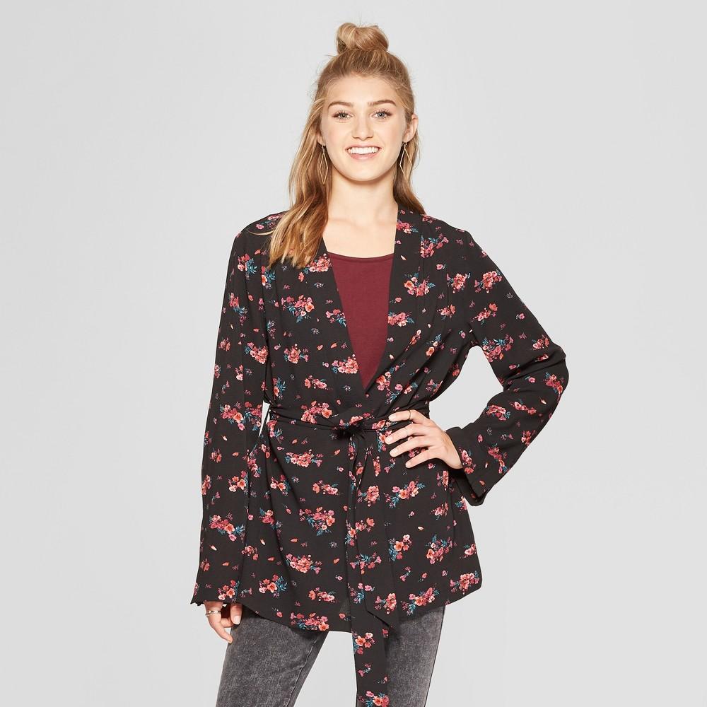 Women's Long Sleeve Belted Floral Kimono Jacket - Xhilaration Black Xxl