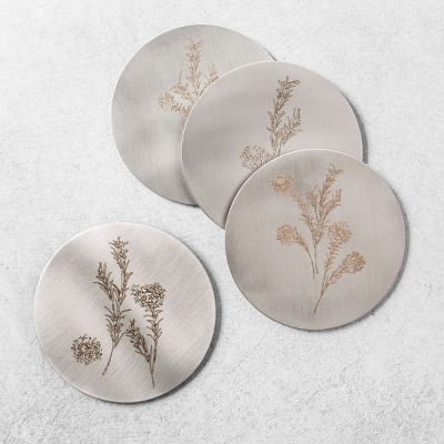 4pk Metal Coaster Floral - Hearth & Hand™ with Magnolia