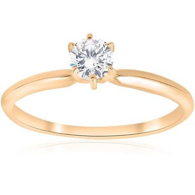 Pompeii3 14k Yellow Gold 1/4ct Round Diamond Solitaire Engagement Ring