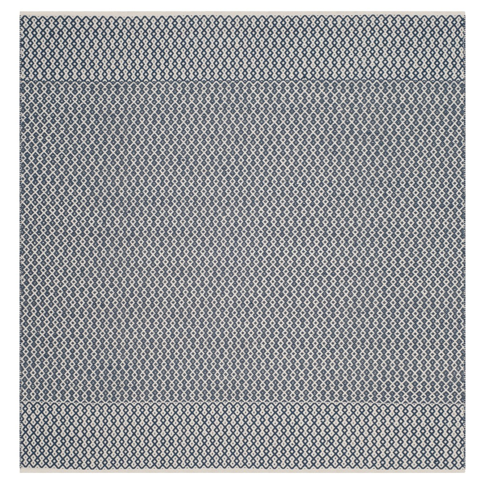 Discounts Ivory Navy Abstract Woven Square Area Rug - (6X6) - Safavieh