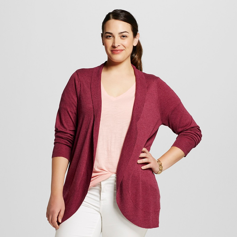 Women's Plus Size Long Sleeve Cocoon Sweater - Ava & Viv - Burgundy (Red) 4X