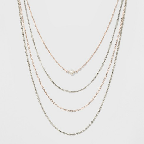 Layered with Mixed Chain and Simulated Pearl Necklace - image 1 of 3