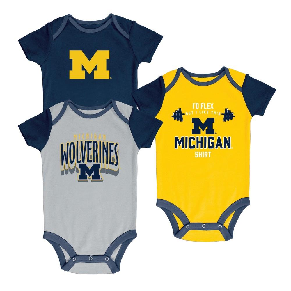 NCAA Baby Boys' 3pk Bodysuit Michigan Wolverines - 0-3M, Multicolored