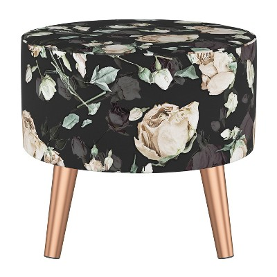 Riverplace Ottoman with Splayed Champagne Roses Black - Project 62™