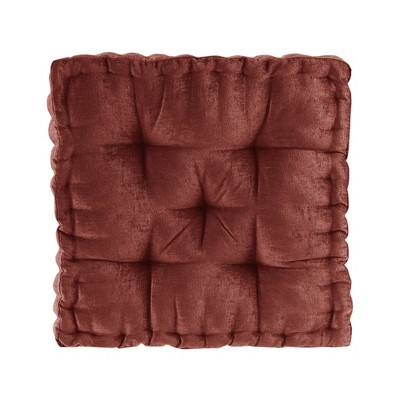 """20""""x20"""" Oversize Diah Poly Chenille Square Floor Pillow Dark Brown"""
