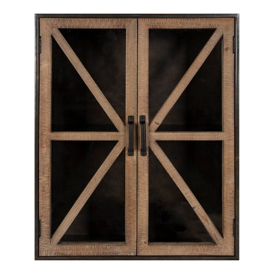 """22"""" x 28"""" Mace Decorative Wood and Metal Wall Cabinet Rustic Brown - Kate & Laurel All Things Decor"""