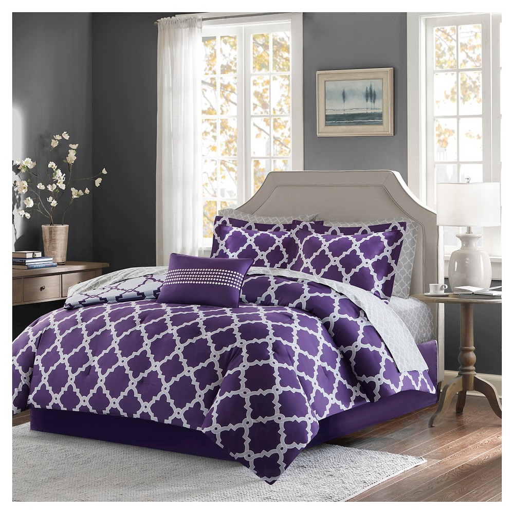 9pc Queen Becker Printed Complete Bed Set Purple/Gray, Purple&gray