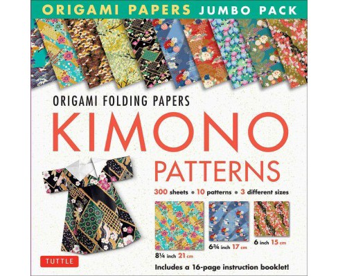 Origami Paper Jumbo Pack : Kimono Patterns; 300 Folding Sheets in 3 Sizes - 6 Inch; 6 3/4 Inch and 8 1/4 - image 1 of 1