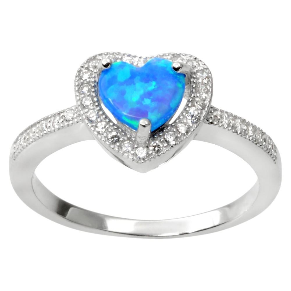 3/5 CT. T.W. Heart-Cut Opal Prong Set Heart Ring in Sterling Silver - Blue (9), Girl's