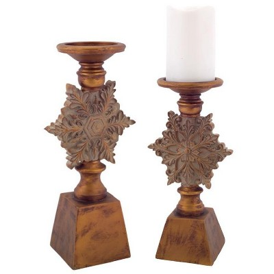 "Melrose 2ct Antique Style Snowflake Christmas Pillar Candle Holder Set 13"" - Brown"