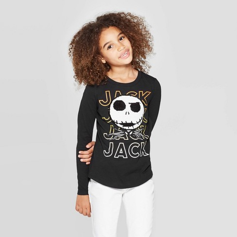 Girls' Jack Skellington Halloween Flip Sequin Long Sleeve T-Shirt - Black - image 1 of 4