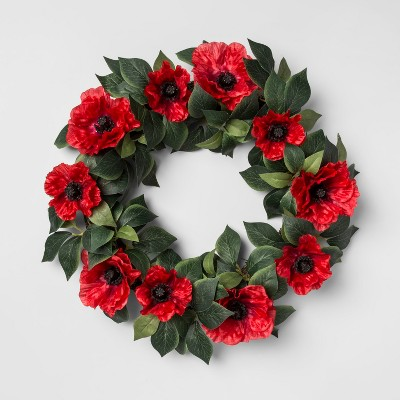 20  Artificial Poppy Flower Wreath Red/Green - Threshold™