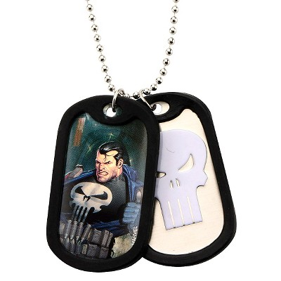 """Men's Marvel Punisher Double Stainless Steel Dog Tag and Rubber Silencers Chain Necklace (22"""")"""
