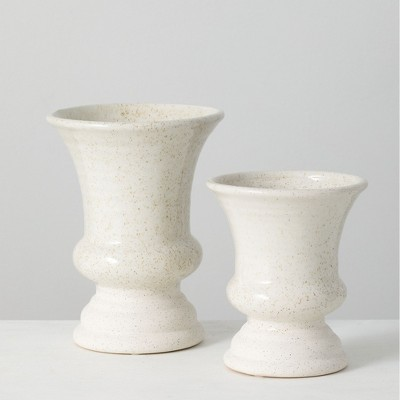"Sullivans Set of 2 Ceramic Vases 8""H & 6""H White"