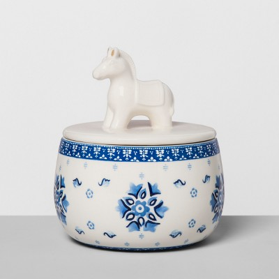 Floral Stoneware Container with Ceramic Donkey Lid Blue/White - Opalhouse™