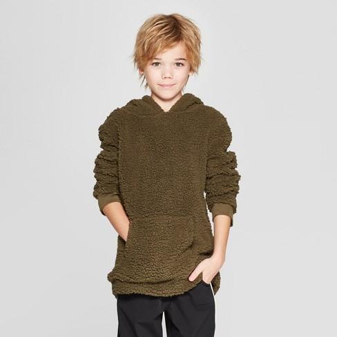 Boys' Long Sleeve Cowl Neck Sherpa Sweatshirt - art class™ Green L - image 1 of 3