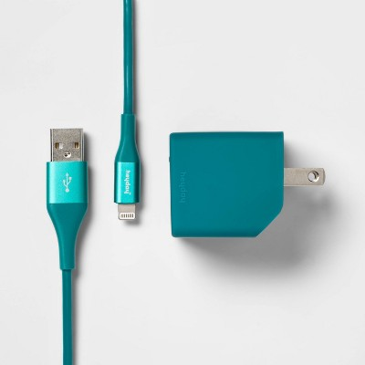 heyday™ 2-Port Wall Charger USB-A & USB-C (with 6' Cable)- Dark Teal