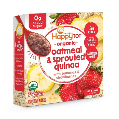 HappyTot Organic Oatmeal & Sprouted Quinoa with Bananas & Strawberries Baby Food - 4.5oz