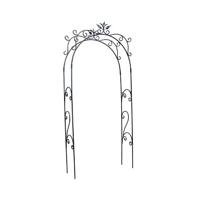 """113"""" Tall Iron Handcrafted Tuileries Garden Arbor Graphite Powder Coated Finish - Achla Designs"""