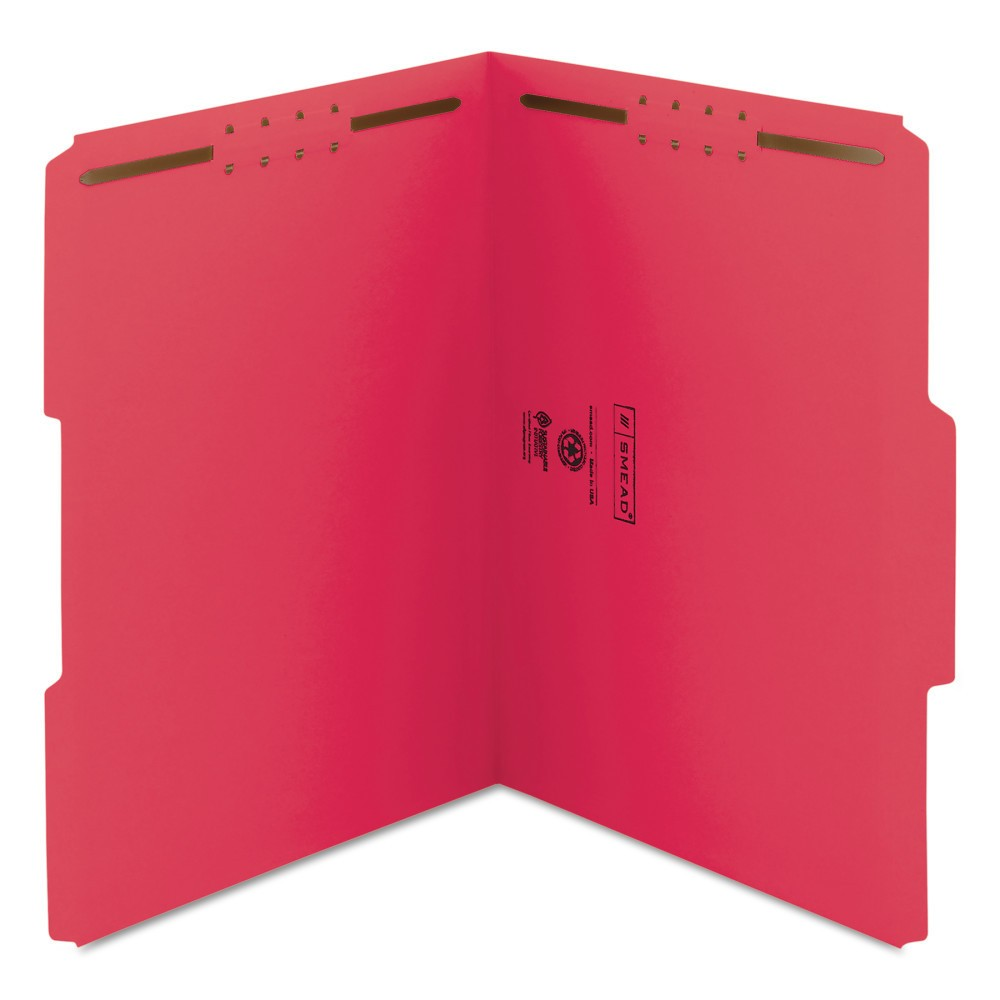 Smead File Folder Two Fasteners 1/3 Cut Letter Red 50ct