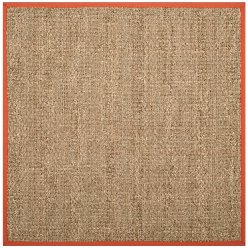 6'X6' Solid Loomed Square Area Rug Natural/Rust (Natural/Red) - Safavieh