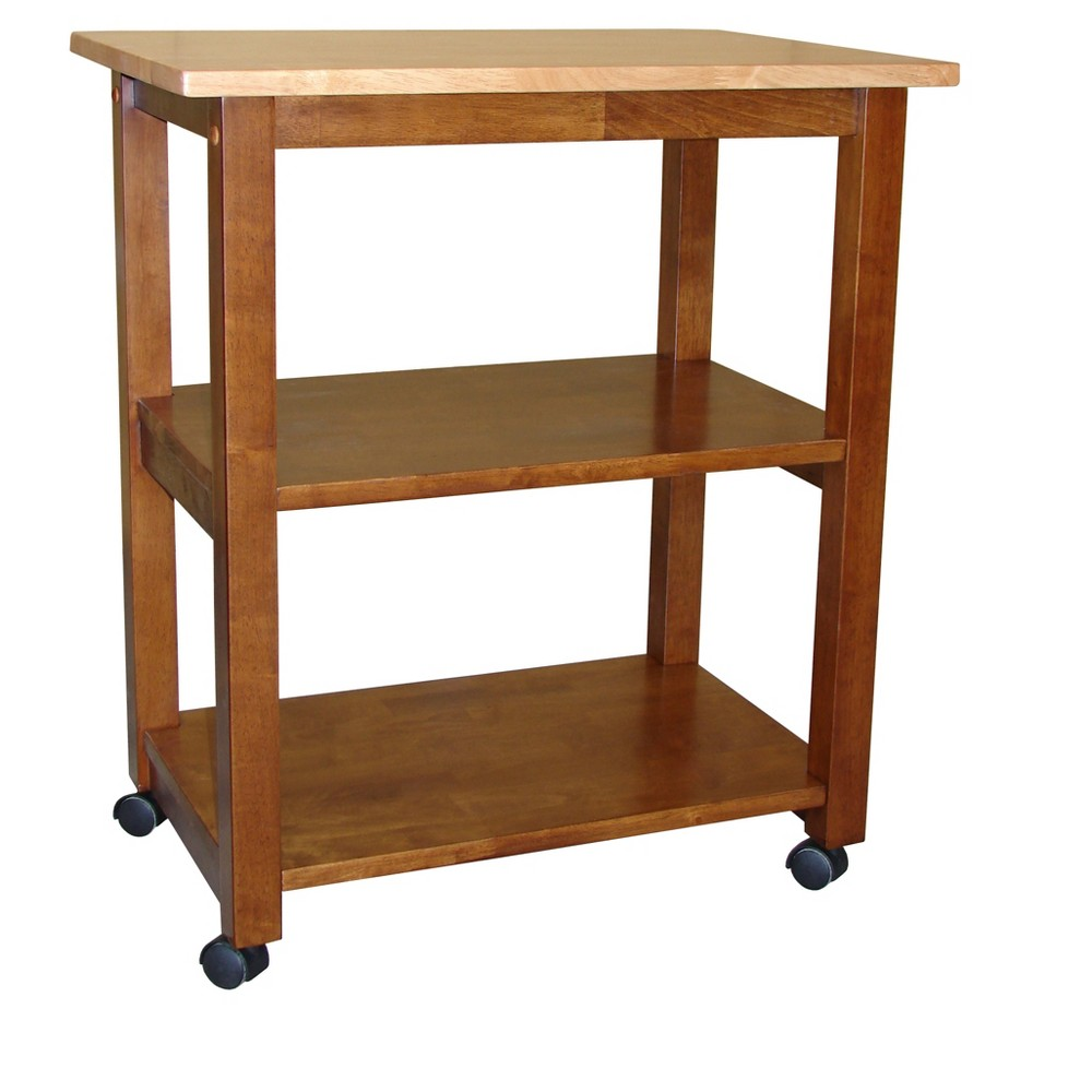 Addison Microwave Cart - Cinnamon/Espresso (Brown) - International Concepts Ideal for cramped kitchens that are lacking in counter space and storage, the Addison Microwave Cart from International Concepts solves all your problems. The top can be used as a cutting board, or storage for an appliance such as a microwave or toaster. The fixed bottom shelves allow you to store dry goods, mixing bowls and more. This portable kitchen cart with storage is everything you need, and more. Color: Espresso.