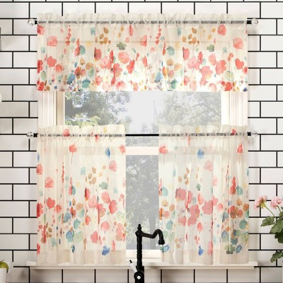 Rosalind Watercolor Floral Semi-Sheer Rod Pocket Kitchen Curtain Valance and Tiers Set Poppy Red - No. 918