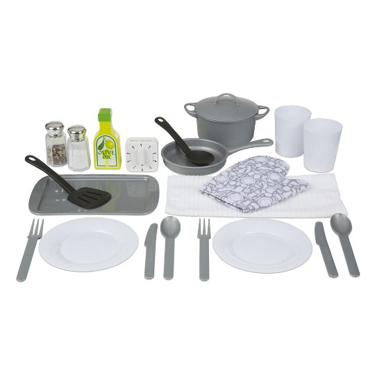 Buy Melissa Doug 22 Piece Play Kitchen Accessories Set Utensils Pot And Lid Pans Play Food For Usd 25 99 Toys R Us