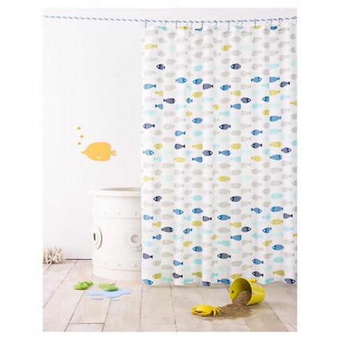 Fish Shower Curtain Calm Gray - Pillowfort™ - image 1 of 2
