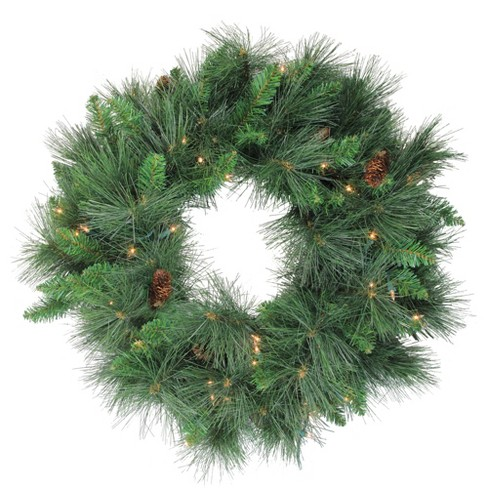 Northlight 24 Prelit White Valley Pine Artificial Christmas Wreath Clear Lights