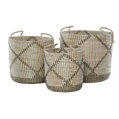 3pk Round Seagrass Storage Baskets with Handles Brown