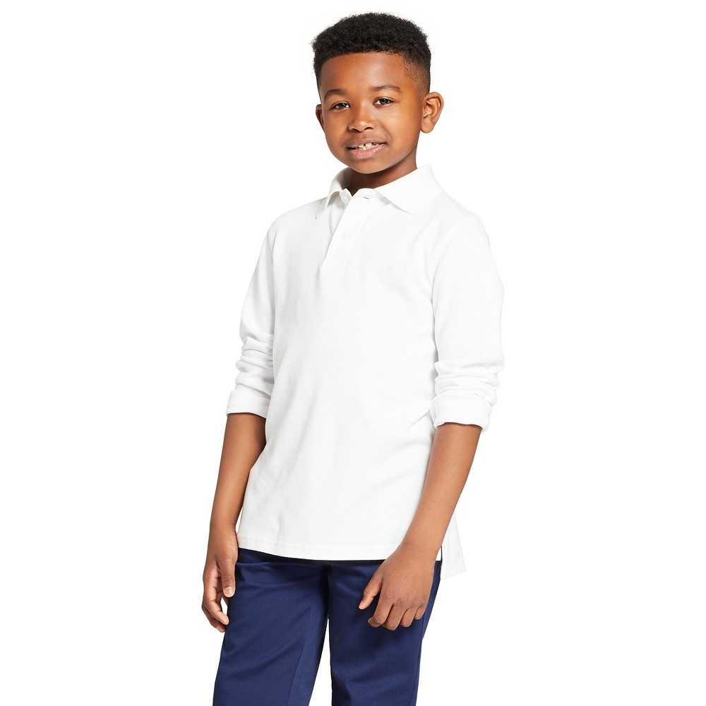 Image of Boys' Long Sleeve Interlock Uniform Polo Shirt - Cat & Jack White S, Boy's, Size: Small