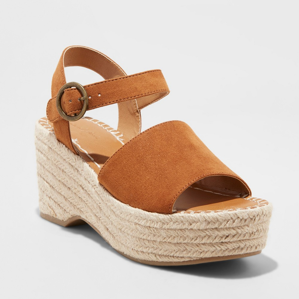 Women's Morgan Two Piece Espadrille Wedge - Universal Thread Cognac (Red) 5.5
