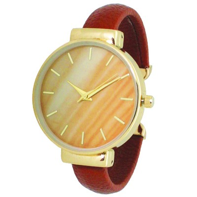 Olivia Pratt Leather Bangle Fashion Watch With Gradient Face - Red