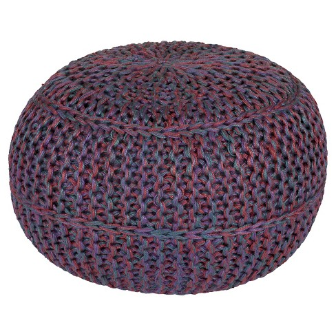 "Burgundy Knotted Sphere Pouf 20""x20""x14"" - Surya - image 1 of 1"