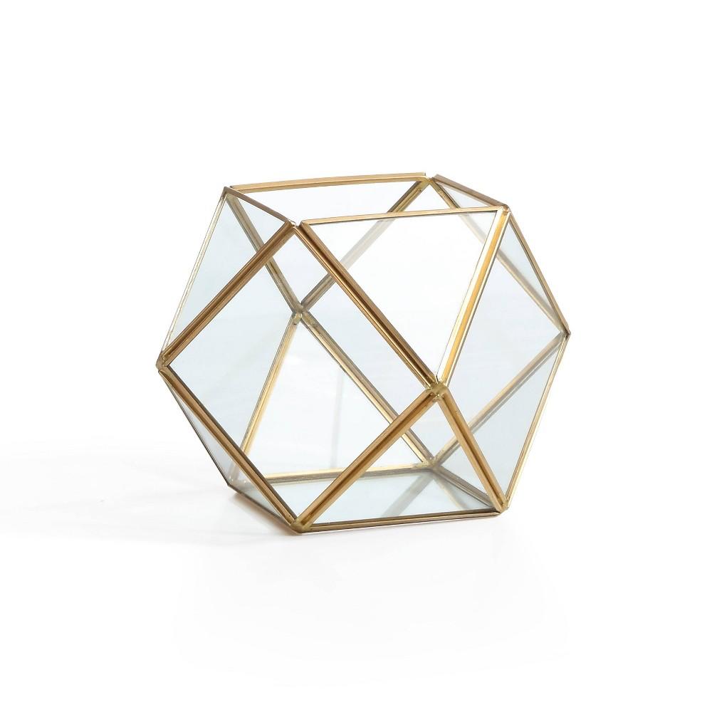 5.2 Polyhedral Shaped Glass Terrarium Clear/Brass - Danya B.