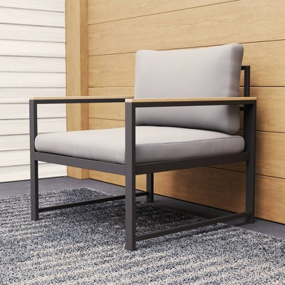 Outdoor Metal Chair with Seat Cushion - Brookside Home