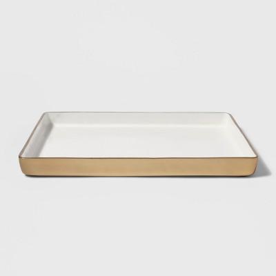 12  x 1  Decorative Metal Tray Gold/White - Threshold™