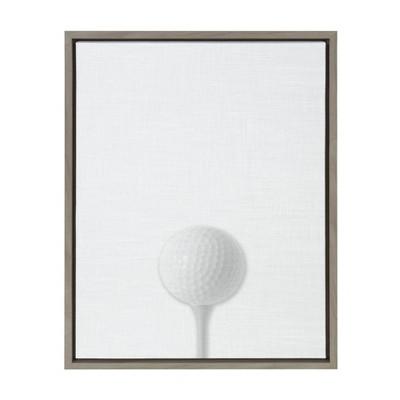 "18"" x 24"" Sylvie Golf Ball PortraitFramed Canvas Gray - DesignOvation"