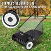 Right Hand 26-Inch Push Lawn Sweeper, Durable Steel Structure & Rubber Wheels Sweeps Leaf Grass & More, 7ft Mesh Collection Bag, 4 Spinning Brushes w/Height Adjustment, Built-in Kickstand - image 4 of 4