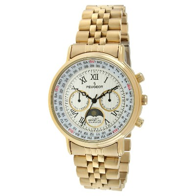 Women's Peugeot Round Lunar Perpetual Calendar  Multifunction Bracelet Watch - Gold