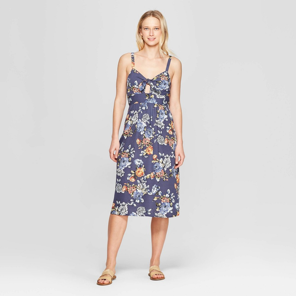 Women's Floral Print Sleeveless V-Neck Smocked Waist Maxi Dress - Xhilaration Navy Xxl, Blue