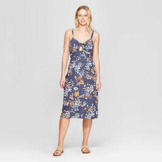 Women's Floral Print Sleeveless V-Neck Smocked Waist Maxi Dress - Xhilaration™ Navy M